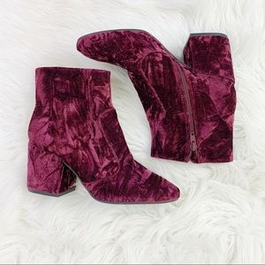 Gianni Bini Cool Dayz Burgundy Crushed Velvet Boot